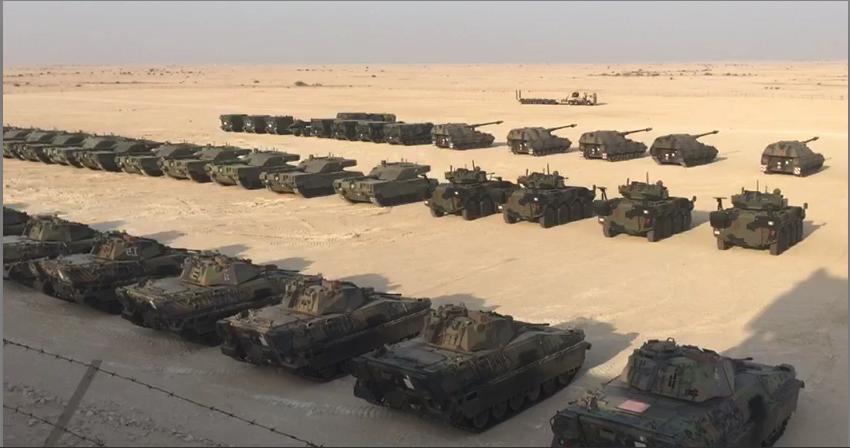 Schieramento dei mezzi della Brigata Garibaldi in Qatar